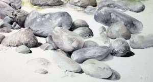 Pierres, rochers et galets à l'aquarelle