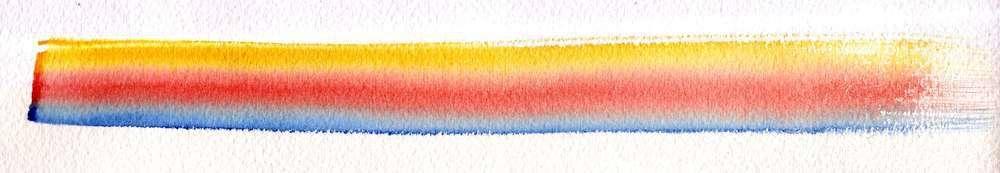 Trois tons sur zone sèche, utilisation de trois pigments, du bleu, du jaune et du rouge.