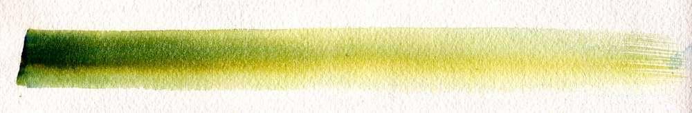 Mélange deux tons sur zone sèche, utilisation des pigments bleu et jaunes.