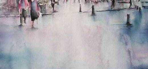 Coulée d'eau sur une surface humide