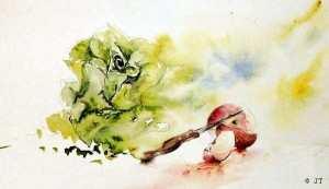 une aquarelle avec fruits et légumes